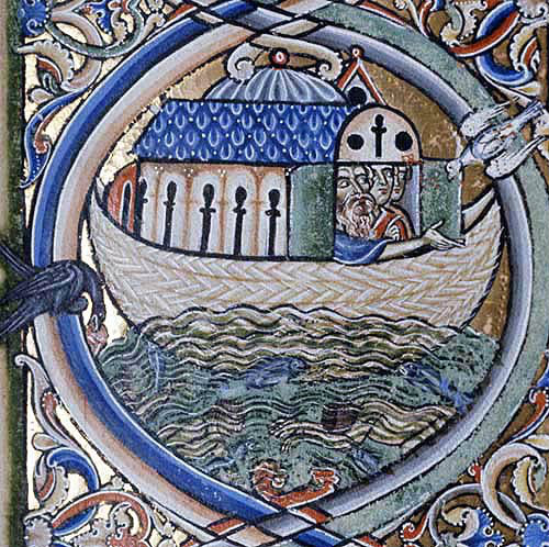 Noahs Ark, the dove returning, Winchester Bible, 12th century