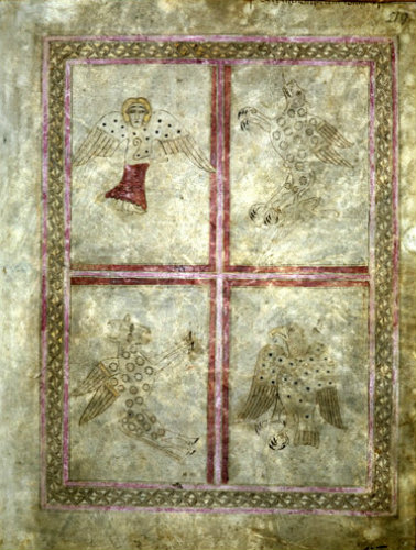 The Lichfield Gospels otherwise known as the Chad Gospels or Book of Chad, 720-30 AD the Four Symbols page 219