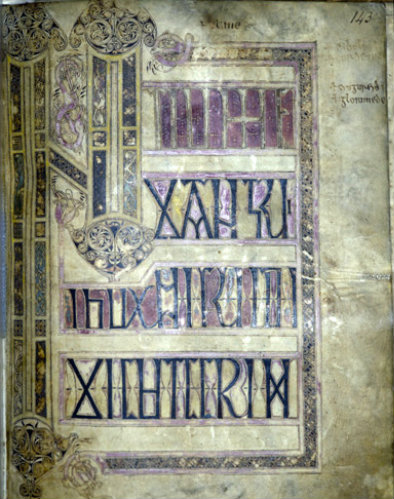 Lichfield Gospels, 720-730, Initium page, insular gospel book, also known as Chad Gospels or Book of Chad, page 143, Lichfield Cathedral, Staffordshire, England