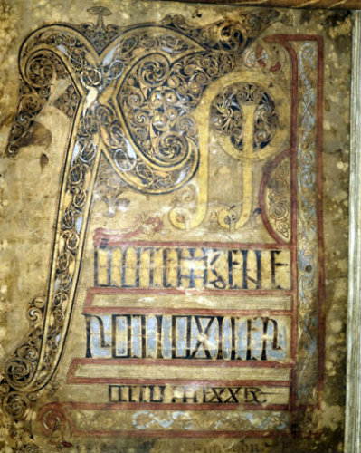 The Lichfield Gospels otherwise known as the Chad Gospels or Book of Chad, 720-30 AD  Chi Rho  page 5