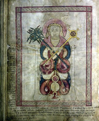Lichfield Gospels, 720-730, insular gospel book, also known as Chad Gospels or Book of Chad, St Luke, Lichfield Cathedral, Staffordshire, England