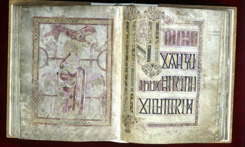 Lichfield Gospels, 720-730, insular gospel book, also known as Chad Gospels or Book of Chad, St Mark and Initium page, Lichfield Cathedral, Staffordshire, England