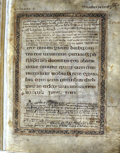 The Lichfield Gospels otherwise known as the Chad Gospels or Book of Chad, 720-730 AD last Page of St Mathew page 141