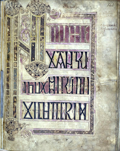 Lichfield Gospels, 720-730, insular gospel book, also known as Chad Gospels or Book of Chad, detail of page 143, Lichfield Cathedral, Staffordshire, England