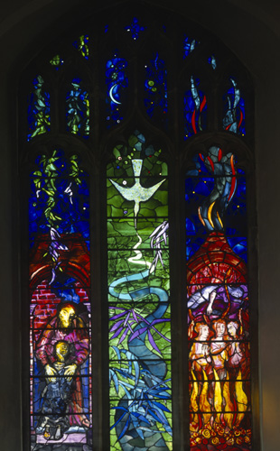 Prodigal son, Curlew River and the Burning Fiery Furnace, Benjamin Britten Memorial window by John Piper, Church of St Peter and St Paul, Aldeburgh, Suffolk, England, Great Britain