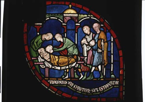 Administration of the water of St Thomas to William, son of Jordan Fitz-Eisulf, 13th century stained glass, Trinity Chapel, Canterbury Cathedral, Kent, England, Great Britain