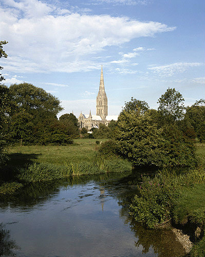 England, Salisbury Cathedral and the River Nadder