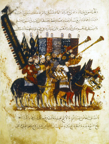 Standard bearers of the Caliph, from the Maqarat of al-Hariri, illustrated by al-Wasiti, 1237, ms arabe 5847, Bibliotheque Nationale, Paris