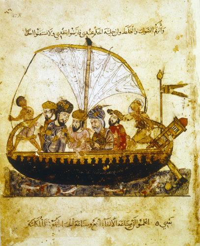 Arabs aboard sailing boat, ms arabe 6094, folio 68, Bibliotheque Nationale, Paris