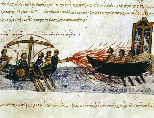 Greek fire, used by Byzantines against Arabs, 13th century Greek ms Biblioteca Nacional, Madrid