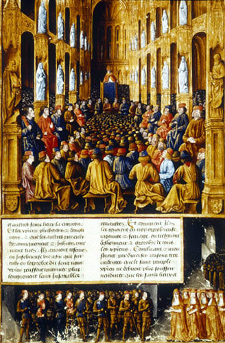 Pope Urban II preaching the first crusade to cardinals and crusaders at the Council of Clermont from Livres des passages d
