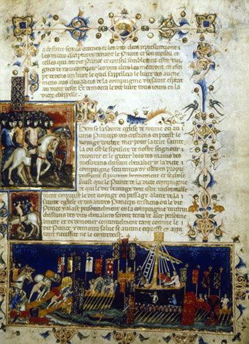 Embarking for the crusade, 1352, the King of France with an army of the Order of the Holy Spirit ms fr.4274 Bibliotheque Nationale Paris