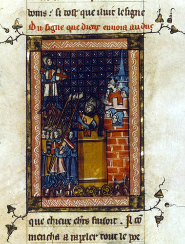Godfrey de Bouillon, leader of first crusade, in a siege tower, William of Tyres History, ms fr.352, folio 61 Bibliotheque Nationale Paris