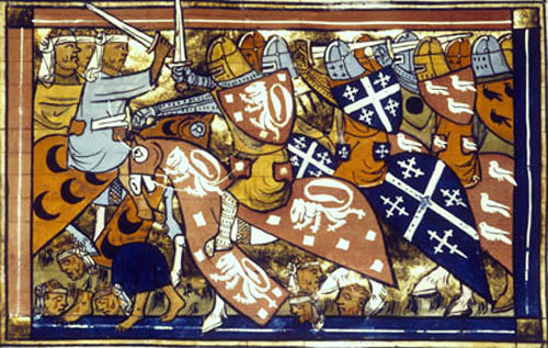 Crusaders fighting, from History of the Voyage and Conquest of Jerusalem, 1337, ms, Bibliotheque Nationale, Paris