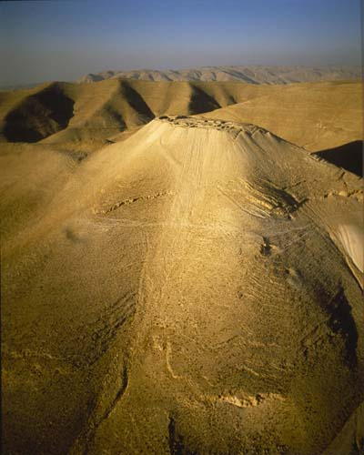 Machaerus, first fortified by Alexander Jannaeus, 103-76 BC, rebuilt by Herod the Great, aerial view, Jordan