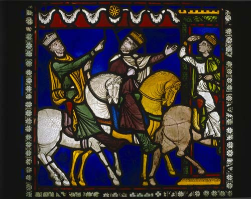Magi following a star, 12th century stained glass, Poor Mans Bible window  north choir aisle, Canterbury cathedral, Kent, England, Great Britain