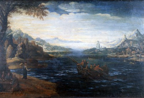 Christ on the shore of Galilee oil painting in the style of Herri Met de Bles