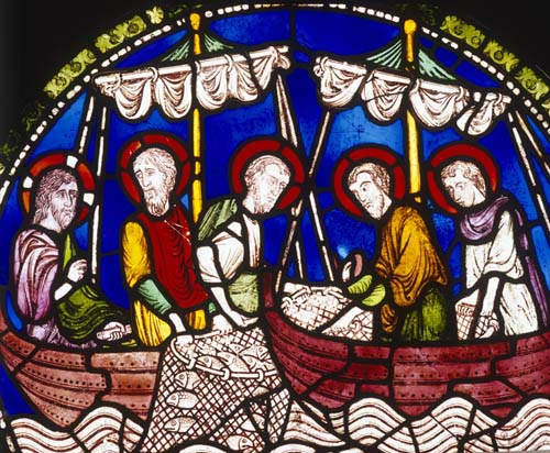 Miraculous Draught of Fishes, 13th century stained glass,  Poor Mans Bible window north choir, Canterbury Cathedral, Kent, England, Great Britain