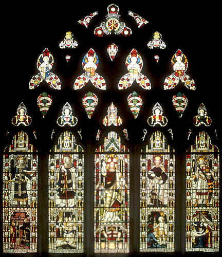 South nave aisle window no.4, commemorating the South African war, nineteenth century, Clayton and Bell, Exeter Cathedral, Devon, England