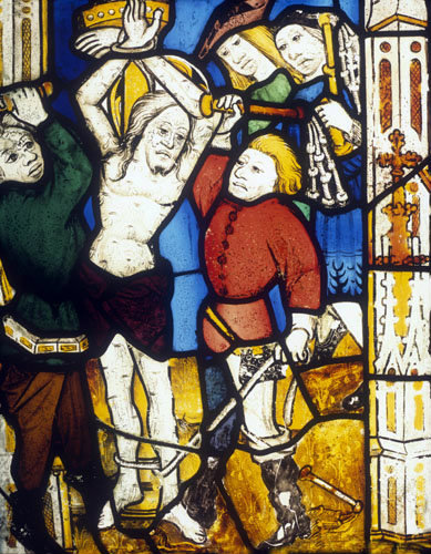 The Scouring of Christ, detail from north east window, Church of St James the Great,  St Kew, Cornwall, England