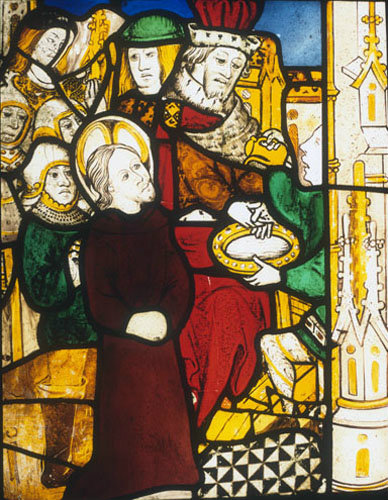 Pilate washes his hands, detail of fifteenth century North East window, Church of St James the Great, St Kew, Cornwall, England