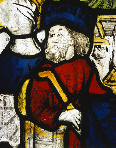 England, St Kew, Cornwall, the Nativity, detail of Joseph in the north east window of the Church of St James the Great