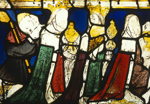 Magi, detail of fifteenth century North East window, Church of St James the Great, St Kew, Cornwall, England