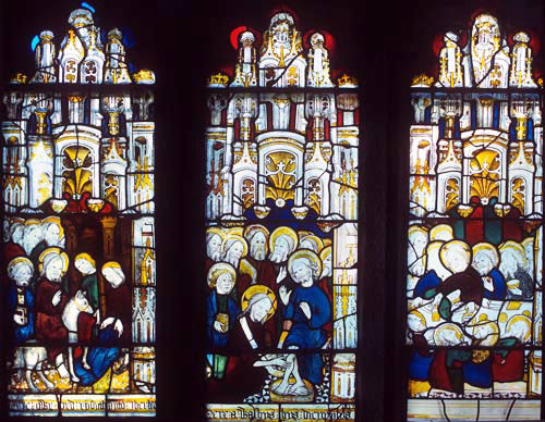 Entry, Washing of feet, Last supper, detail of fifteenth century Passion window, Church of St James the Great, St Kew,  Cornwall, England