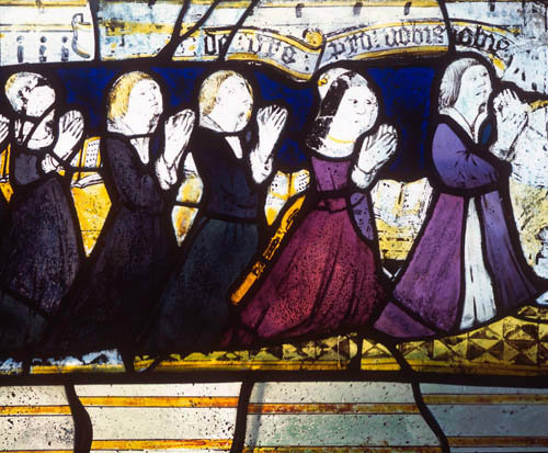 Donors, detail of fifteenth century North East window, Church of St James the Great, St Kew, Cornwall, England