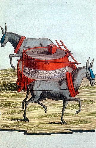 Blinkered mules grinding rice, Chinese engraving, 1811