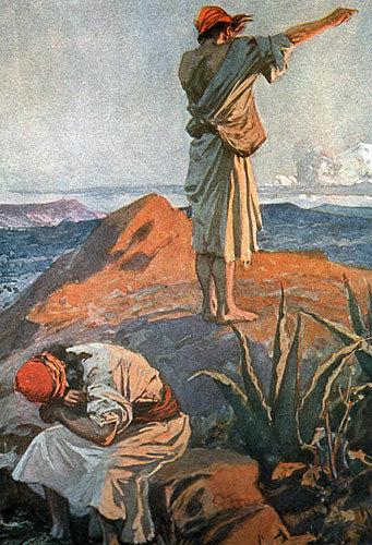 Elijah on Mount Carmel seeing a cloud afar off, 1904 bible illustration, James Tissot, England