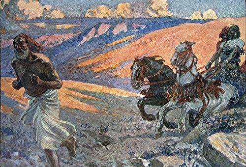 Elijah running before chariot of Ahab (I Kings XVIII V 46) 1904 bible illustration, James Tissot, England