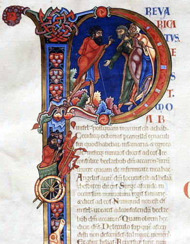 Elijah in the chariot of fire, 12th century illumination from the Winchester Bible, Winchester Cathedral Library, England