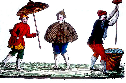 Peasant in a coat of rice straw, Chinese engraving, 1811