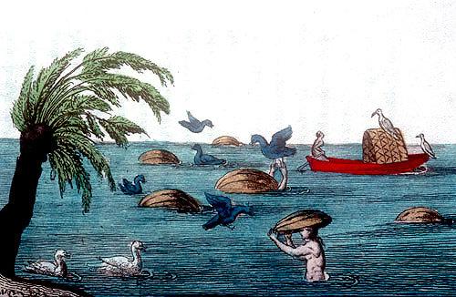 Catching ducks,  Chinese engraving, 1811