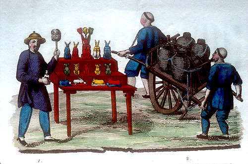 Merchant selling sugar hares for the festival of the fourth month and another with a two handed cart for transporting wine, Chinese engraving, 1811