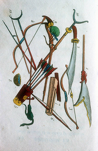 Bows and arrows and other arms, Chinese engraving, 1811