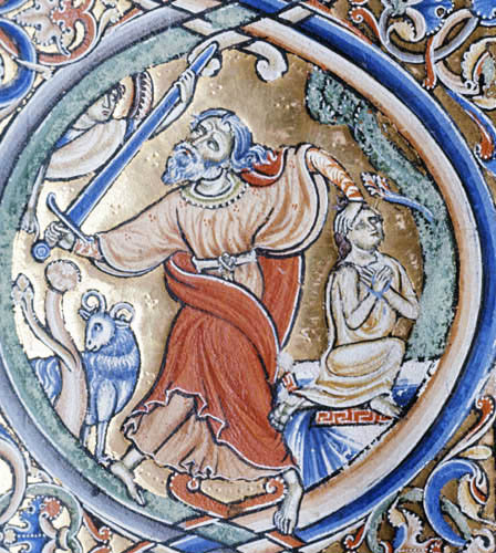 Abraham sacrificing Isaac, 12th century illumination from the Winchester Bible, Winchester Cathedral Library, England