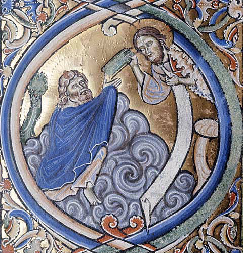 Moses recieves the Tablets, Winchester Bible, 12th century