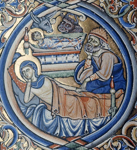 Nativity of Christ, 12th century illumination from the Winchester Bible, Winchester Cathedral Library, England