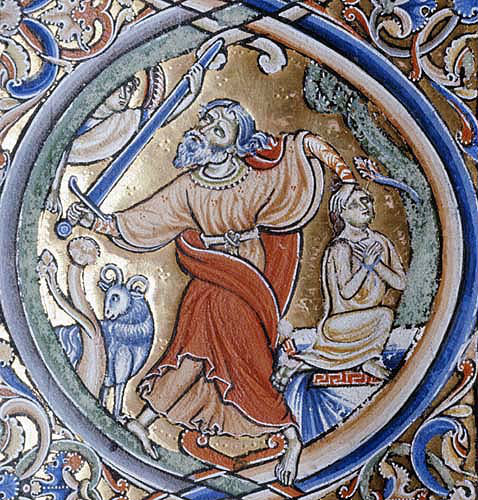 Abraham sacrificing Isaac, Winchester Bible, 12th century