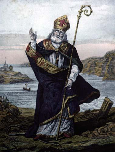 St Patrick, patron saint of Ireland, 19th century engraving, Great Britain