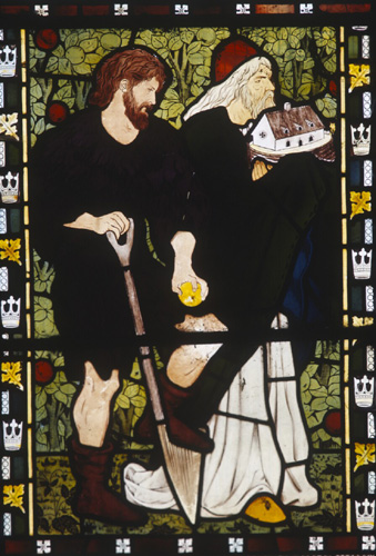 Adam and Noah, 19th century stained glass from the workshop of William Morris, east window, Church of All Saints, Middleton Cheney, Northamptonshire, England, Great Britain