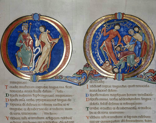 Doeg slaying the priests, 12th century illumination from the Winchester Bible, Winchester Cathedral Library, England