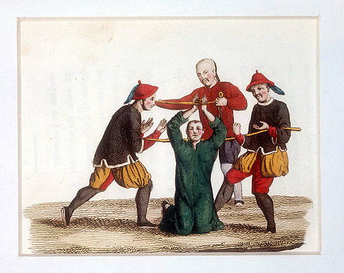 Chinese method of finger torture, engraving from La Chine en miniature, 1811, volume IV, by Jean Baptiste Joseph Breton de la Martiniere