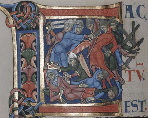 Battle of Gilboa, 12th century illumination from Winchester Bible, Winchester Cathedral, Hampshire, England, Great Britain