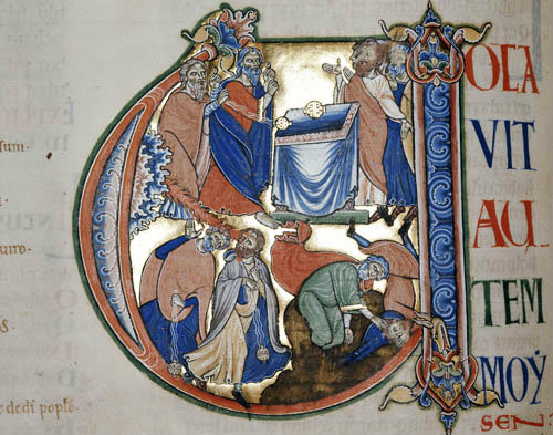 Scene from Leviticus, 12th century illumination from the Winchester Bible, Winchester Cathedral Library, England