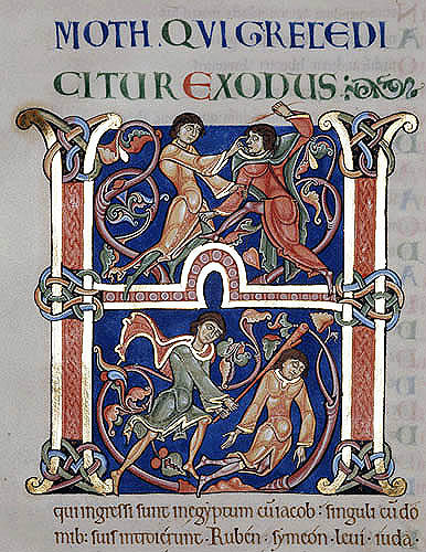 Winchester Bible, 12th century illuminated bible, letter H, top half an Egyptian smiting a Hebrew, bottom half Moses slaying the Egyptian, Winchester Cathedral, Hampshire, England, Great Britain
