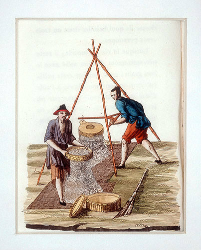 Chinese men grinding rice, engraving from La Chine en miniature, 1811, by Jean Baptiste Joseph Breton de la Martiniere