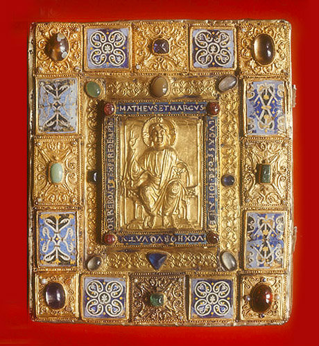 Sion Gospels, 1000 AD, with twelfth century German cover of beech overlaid with plaques of gold and precious stones, enamelled, V&A Museum, No 567-1813, LondonEngland